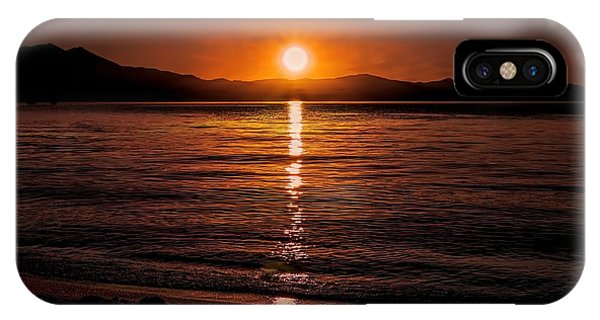 Sunset Lake 810pm Textured IPhone Case
