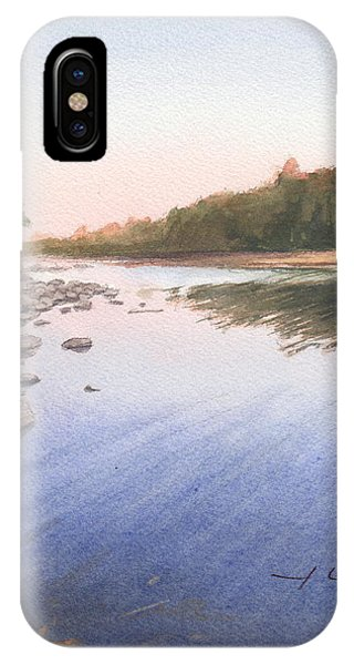 Sunset Lake Watercolor Painting Phone Case by Mike Theuer