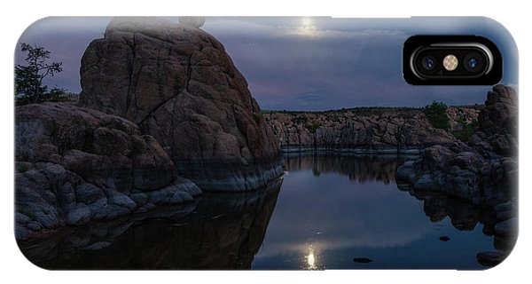 IPhone Case featuring the photograph Sunset Moon Reflection by Gaelyn Olmsted
