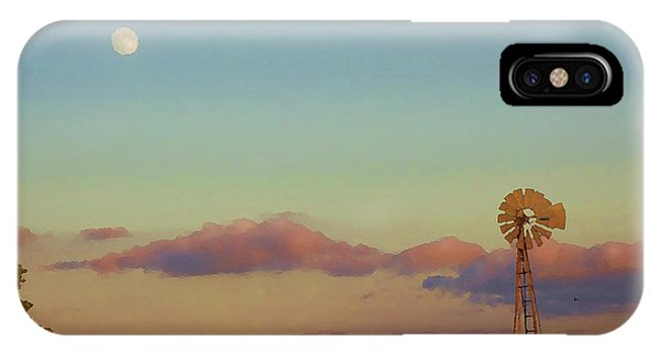 Sunset Moonrise With Windmill  IPhone Case