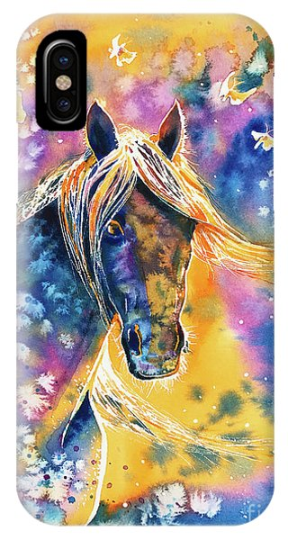 IPhone Case featuring the painting Sunset Mustang by Zaira Dzhaubaeva