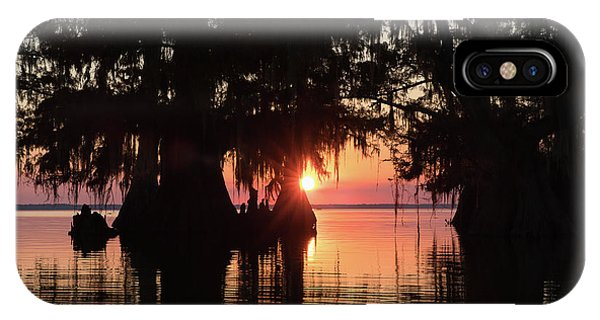 Bald Cypress iPhone Case - Sunset On A Louisiana Cypress Swamp by Bill Swindaman