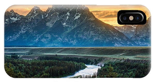 Teton iPhone Case - Sunset On Grand Teton And Snake River by Gary Whitton