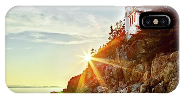 Ocean Sunset On Maine's Bass Harbor Lighthouse IPhone Case