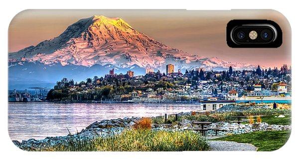 Sunset On Mt Rainier And Point Ruston IPhone Case