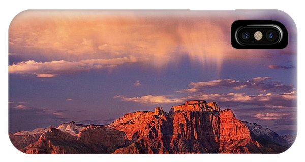 IPhone Case featuring the photograph Sunset On West Temple Zion National Park by Dave Welling