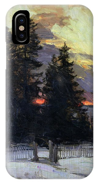 1862 iPhone Case - Sunset Over A Winter Landscape by Abram Efimovich Arkhipov