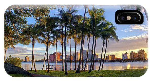 Sunset Over Downtown West Palm Beach From Palm Beach Island IPhone Case