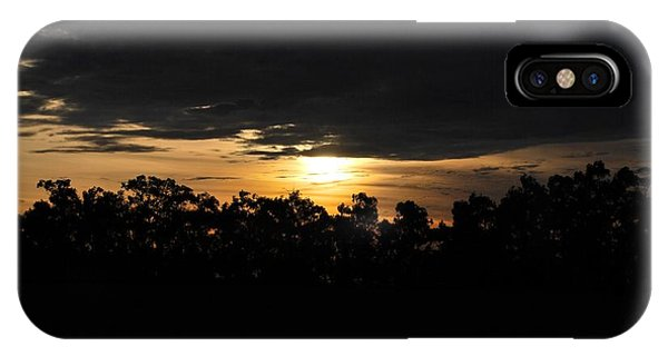 Sunset Over Farm And Trees - Silhouette View  IPhone Case