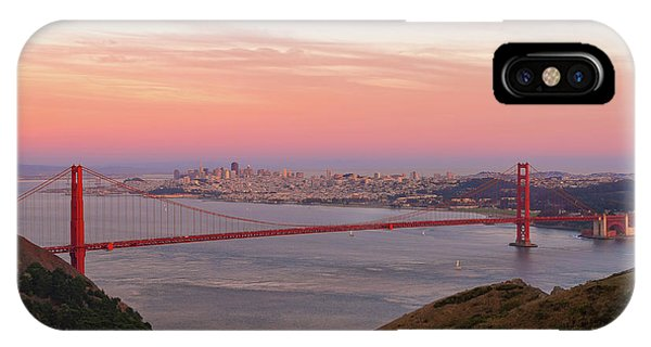 Sunset Over Golden Gate Bridge And San Francisco Skyline IPhone Case