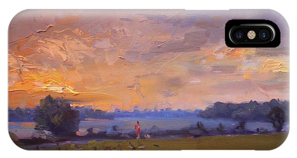 Waterscape iPhone Case - Sunset Over Gratwick Park by Ylli Haruni