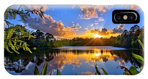Sunset Over Hidden Lake In Jupiter Florida IPhone Case