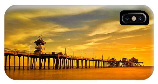 Sunset Over Huntington Beach Pier IPhone Case