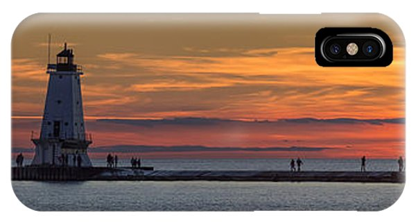 Marquette iPhone Case - Sunset Over Ludington Panoramic by Adam Romanowicz