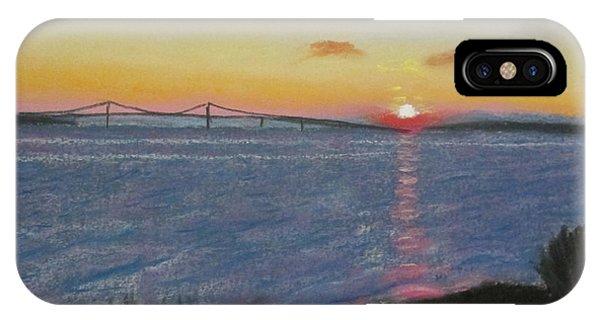 Sunset Over Mackinac Bridge In Mi IPhone Case