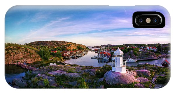 Skyscape iPhone Case - Sunset Over Old Fishing Port - Aerial Photography by Nicklas Gustafsson