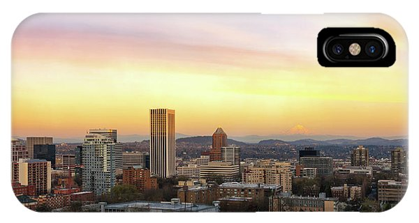 Sunset Over Portland Cityscape And Mt Hood IPhone Case