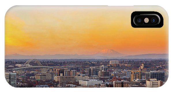 Sunset Over Portland Cityscape And Mt Saint Helens IPhone Case