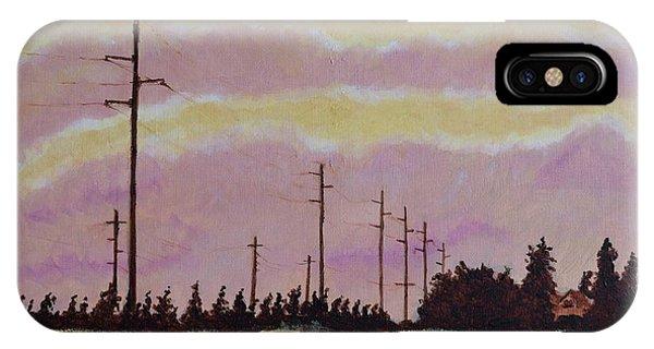 Pylon iPhone Case - Sunset Over Powerlines by Ken Watson