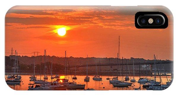 Sunset Over Salem Harbor Salem Beverly Bridge 2 IPhone Case