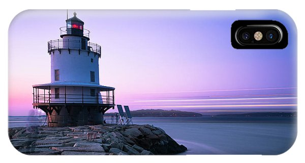 Sunset Over Spring Breakwater Lighthouse In South Maine IPhone Case