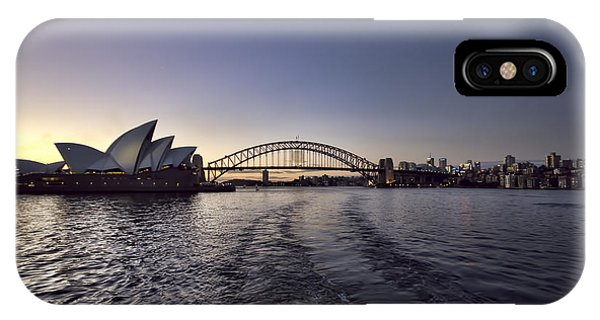 Skyline iPhone Case - Sunset Over Sydney Harbor Bridge And Sydney Opera House by Douglas Barnard