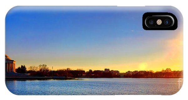 Tidal iPhone Case - Sunset Over The Jefferson Memorial  by Olivier Le Queinec