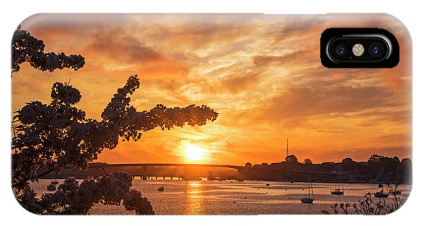 Sunset Over The Salem Beverly Bridge From The Salem Willows Salem Ma IPhone Case