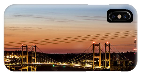 Sunset Over The Tacoma Narrows Bridges IPhone Case