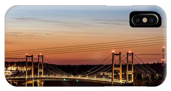 Sunset Over The Tacoma Narrows Bridges IPhone Case