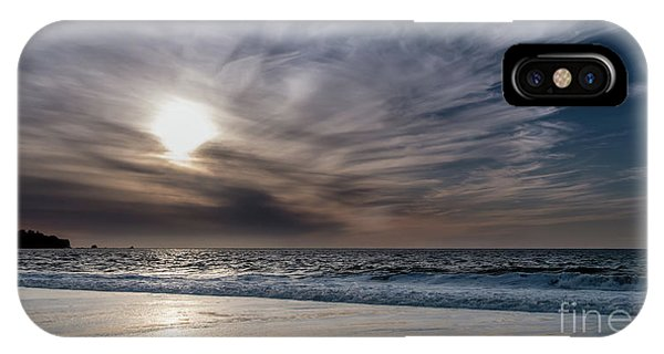 Sunset Over West Coast Beach With Silk Clouds In The Sky IPhone Case