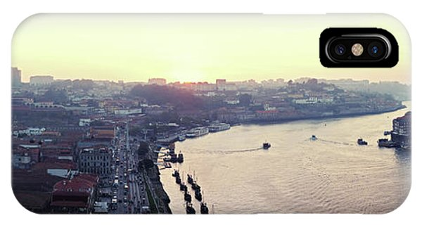 IPhone Case featuring the photograph sunset panorama of the Douro river in Porto, Portugal by Ariadna De Raadt