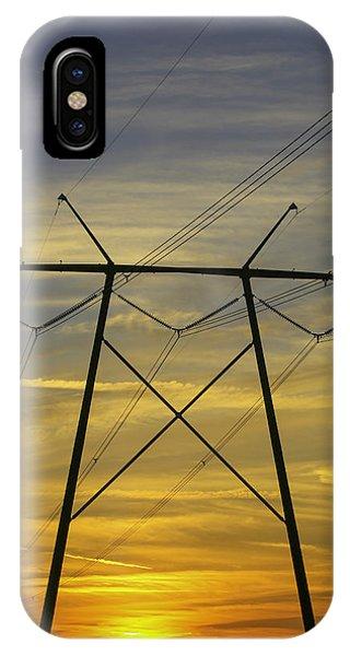 Sunset Power Poles IPhone Case