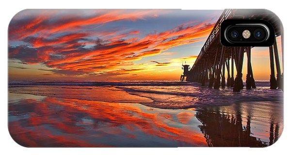 Sunset Reflections At The Imperial Beach Pier IPhone Case
