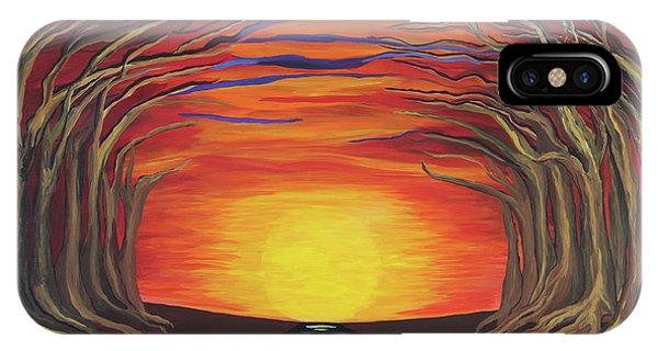 Treetop Sunset River Sail IPhone Case