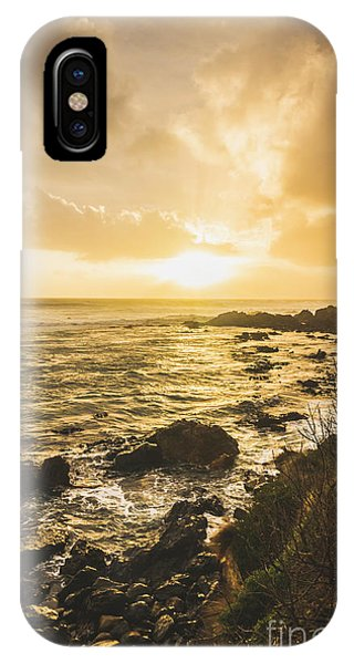Stone Wall iPhone Case - Sunset Seascape by Jorgo Photography - Wall Art Gallery