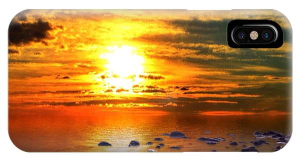IPhone Case featuring the painting Sunset Shoreline by Mark Taylor