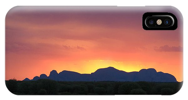 IPhone Case featuring the photograph Sunset Silhouette Of Kata Tjuta In The Northern Territory by Keiran Lusk