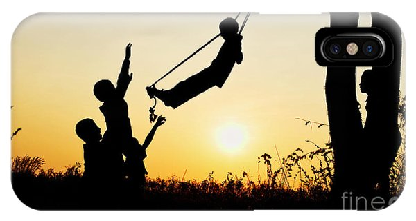 Indian Village iPhone Case - Sunset Silhouette Swing by Tim Gainey