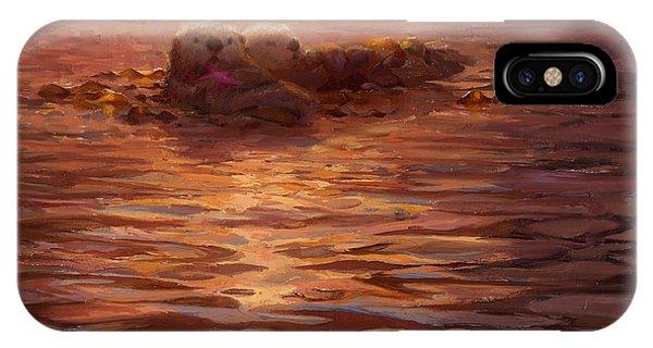Sea Otters Floating With Kelp At Sunset - Coastal Decor - Ocean Theme - Beach Art IPhone Case