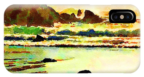 IPhone Case featuring the painting Sunset Surf by Angela Treat Lyon