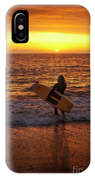 Sunset Surfer On Aberystwyth Beach Wales Uk IPhone Case