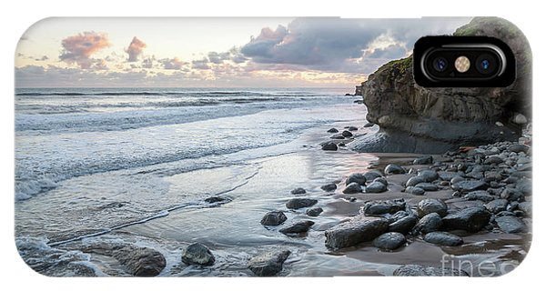 Sunset View In The Distance With Large Rocks On The Beach IPhone Case