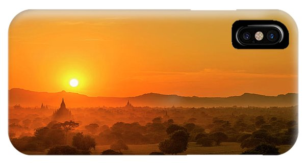 Sunset View Of Bagan Pagoda IPhone Case