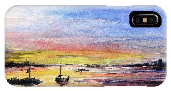 Downtown Seattle iPhone Case - Sunset Watercolor Downtown Kirkland by Olga Shvartsur