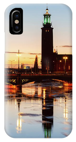 Sunset With Cityhall Of Stockholm IPhone Case