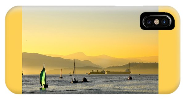Sunset With Green Sailboat IPhone Case
