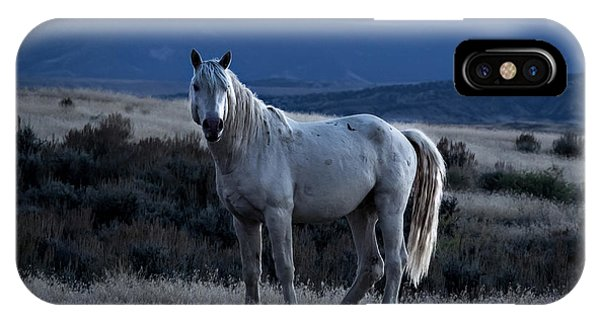 Sunset With Wild Stallion Tripod In Sand Wash Basin IPhone Case