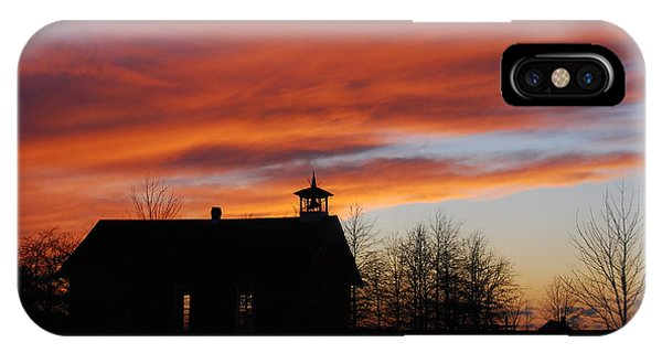 Sunsetting Behind The Historic Schoolhouse. IPhone Case