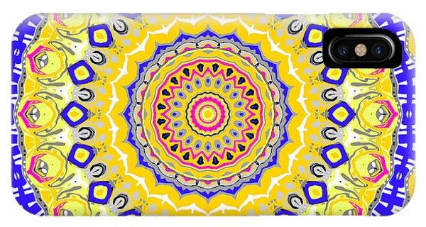 IPhone Case featuring the digital art Sunshine And Blue Skies Mandala by Joy McKenzie